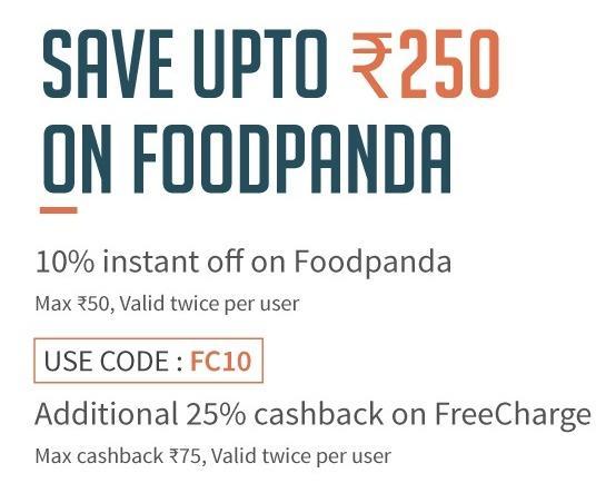 Foodpanda - Flat 10% off on no minimum purchase + Additional 25% Cashback via Freecharge