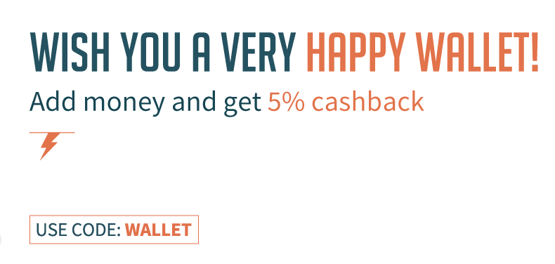 Freecharge Wallet Offer - Get 5% Cashback on adding money in wallet