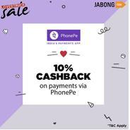 Get 10% cashback on Your Transaction Made via PhonePe | Jabong Offer