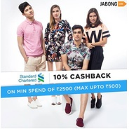Get 10% Cashback Upto Rs.500 Min. Transaction Of Rs.2500 Using Standard Chartered India cards | Jabo