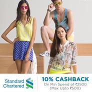 Get 10% Cashback Upto Rs.500 Minimum Spend Rs.2500 Via Using Standard Chartered Card | Jabong Offer