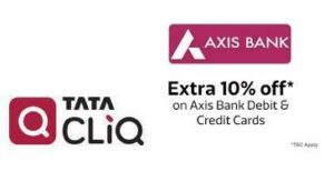Get  10% off on  2500 with Axisbank Bank Debit & Credit Cards | TataCliq Offer