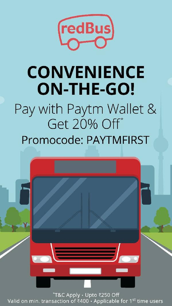 Get 20% Off upto Rs 250 on Bus booking at RedBus Via Paytm