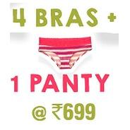 Get 4 Bras + 1 Panty At Rs.699 at Rs 699 | Clovia Offer