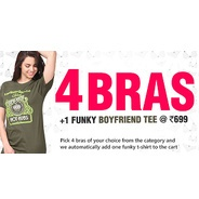 Get 4 Bras + 1 T-Shirt At Rs.699 at Rs 699 | Clovia Offer