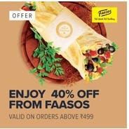 Get 40% OFF on Orders From Faasos via Swiggy | Swiggy Offer