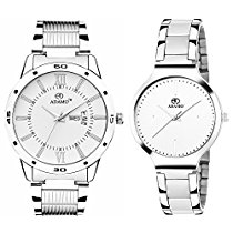 Get Adamo Designer (Day & Date) Couple Combo Analogue Wrist Watch at Rs 599   Amazon Offer
