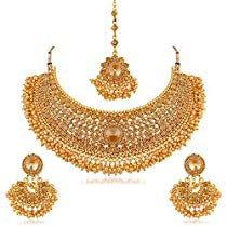 Get Apara Bridal Gold Plated Pearl LCT Stones Necklace Set For W at Rs 279   Amazon Offer