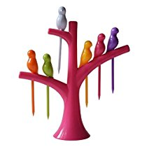 Get Birdie Plastic Fruit Fork Set with Stand, 6-Pieces, Multicolour at Rs 73   Amazon Offer