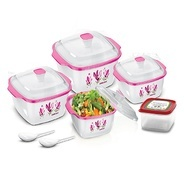 Get BMS Hot & Fresh Casserole Serving Gift set of 7 Pcs ,Pink at Rs 449 | Amazon Offer