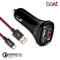 Get boAt Dual Port Rapid Car charger (Qualcomm Certified) with Quick Charge 3.0 + Free Micro USB Cab