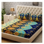 Get Bombay Dyeing Microfiber Printed Double Bedsheet (1 Double Bedsheet + 2 Pillow Cover, Blue) at R