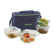 Get Borosil Glass Lunch Box Set with Bag, 4-Pieces, Blue at Rs 985 | Amazon Offer