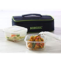 Get Borosil Glass Tiffin Set, 320ml, Set of 2, Clear at Rs 603 | Amazon Offer