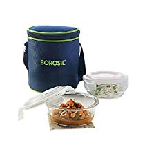 Get Borosil Glass Tiffin Set, 400ml, Set of 2, Clear at Rs 596 | Amazon Offer