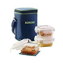 Get Borosil Klip N Store Microwavable Containers, 320ml, Set of 3 with Lunch Bag at Rs 655 | Amazon
