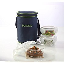 Get Borosil Klip N Store Microwavable Containers, 400ml, Set of 3 with Lunch Bag at Rs 981   Amazon