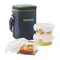 Get Borosil Klip N Store Microwavable Containers with Lunch Bag, 320ml, Set of 3, Clear at Rs 809 |