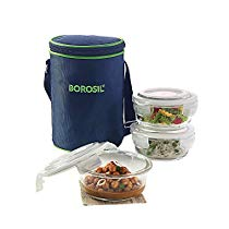 Get Borosil Klip N Store Microwavable Containers with Lunch Bag, 400ml, Set of 3, Transparent at Rs