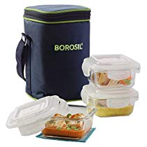 Get Borosil Klip N Store Microwavable Containers with Lunch Bag (Color May Vary), 320ml, Set of 3, C