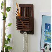 Get Brown Wooden Letter Rack Cum Key Holder by Home Sparkle at Rs 305 | Pepperfry Offer