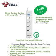 Get Bull 4 Socket,2 Fast Charging USB, 1 Switch , 2 M Wire Extension Board at Rs 799 | Amazon Offer