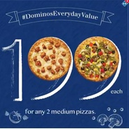 Get Buy any 2 Medium Pizzas at Rs.199 Each | Dominos Offer