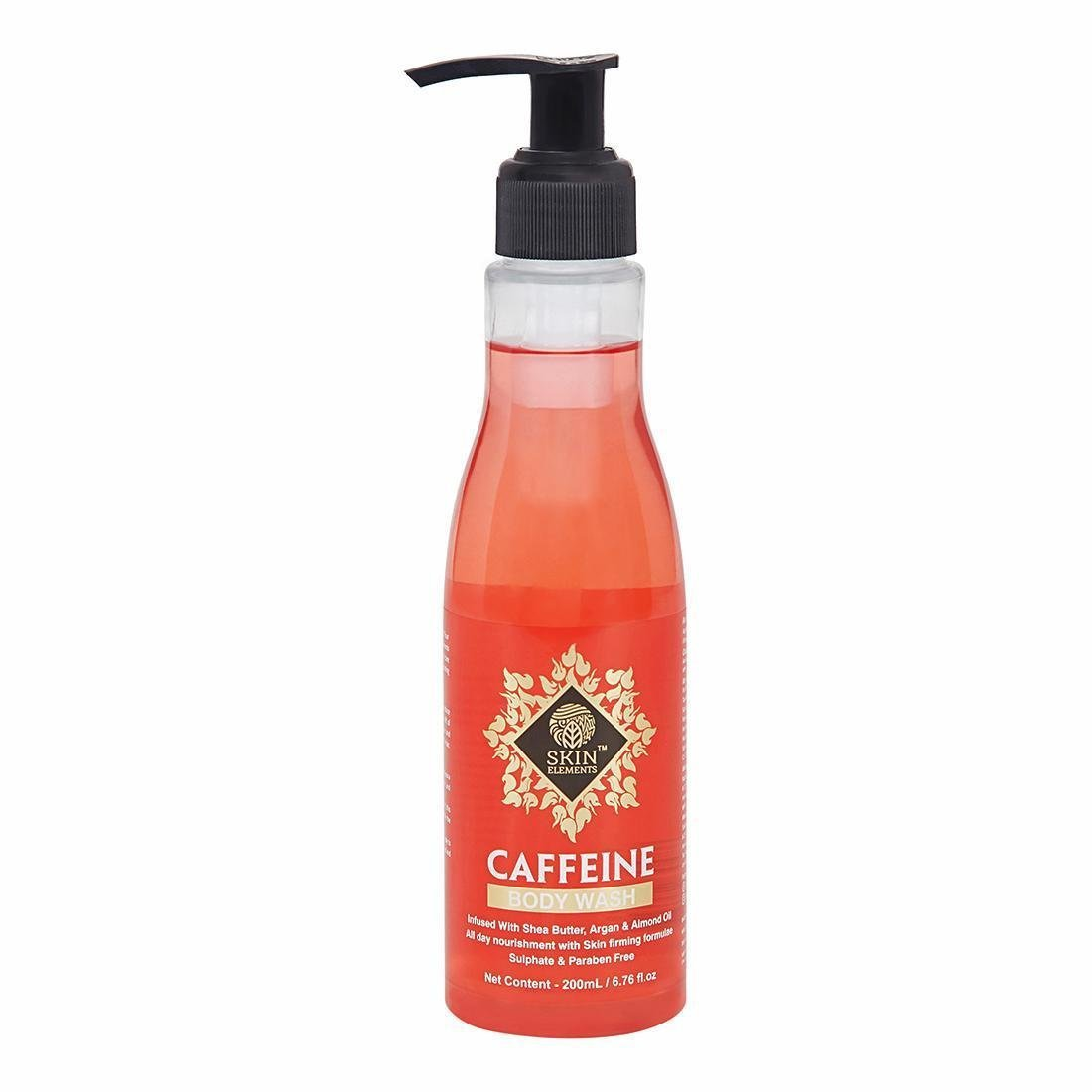Get Caffeine Body Wash by Skin Elements (200 mL) with Shea Butter, Almond & Argan Oil, Sulphate and