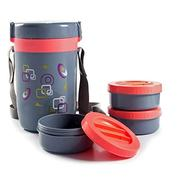 Get Cello Exclusive 3 Microwave safe Executive Lunch Box (Set of 3) - Grey/Pink at Rs 379   Amazon O