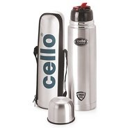 Get Cello Flip Style Stainless Steel Bottle, 1 Litre, Silver at Rs 671 | Amazon Offer