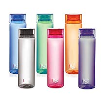 Get Cello H2O Unbreakable Plastic Bottle Set, 1 Litre, Set of 6, Multicolour at Rs 574 | Amazon Offe