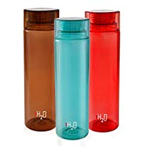 Get Cello H2O Unbreakable Premium Edition Plastic Bottle, 1 Litre, Set of 3, Red,Sky Blue,Brown at R