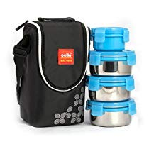 Get Cello Max Fresh Click Steel Lunch Box Set, 300ml, 4-Pieces, Blue at Rs 525 | Amazon Offer