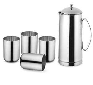 Get Classic Essentials 1.2lt Jug + 450ml Glass Set of 4      at Rs 269 | Flipkart Offer