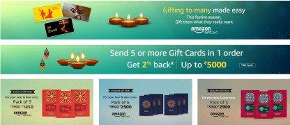 Get Corporate Bulk  Gift Card 2% Cashback on send 5 Gift Card | Amazon Offer