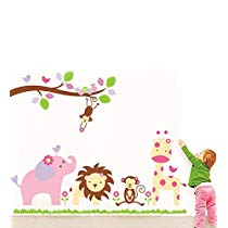 Get Decals Design 'Baby Cartoon Animal Kingdom Kids' Wall Sticker (PVC Vinyl, 50 cm x 70 cm), Mu