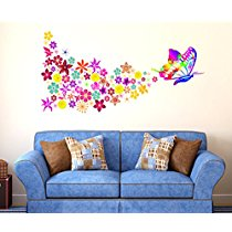 Get Decals Design 'Butterfly with Colorful Flowers Blowing' Wall Sticker at Rs 109 | Amazon Offe