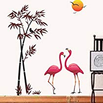 Get Decals Design 'Flamingos and Bamboo at Sunset' Wall Sticker (PVC Vinyl, 90 cm x 60 cm, Multi