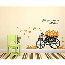 Get Decals Design 'Floral Bicycle Quote All You Need is Love in Garden' Wall Sticker at Rs 109 |