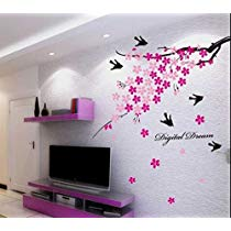 Get Decals Design 'Flower Branch with Birds' Wall Sticker (PVC Vinyl, 50 cm x 70 cm),Multicolour
