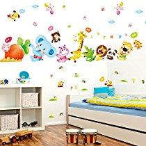 Get Decals Design 'Happy Cute Elephant Monkey Cartoon Animals' Wall Sticker at Rs 119 | Amazon O