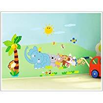 Get Decals Design 'Jungle Cartoon Cute Animals' Wall Sticker (PVC Vinyl, 60 cm x 90 cm, Multicol