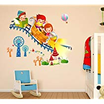 Get Decals Design 'Kids Riding Roller Coaster' Wall Sticker at Rs 109   Amazon Offer
