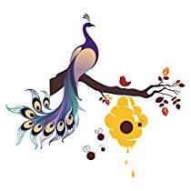 Get Decals Design 'King of Birds Peacock on Branch with Honey Bees Hive' Wall Sticker (PVC Vinyl