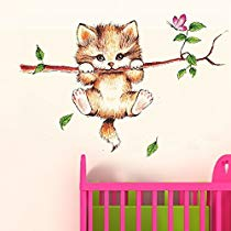 Get Decals Design 'Little Catty on Branch' Wall Sticker (PVC Vinyl, 60 cm x 45 cm, Multicolour)