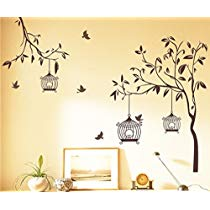 Get Decals Design 'Tree with Birds and Cages' Wall Sticker (PVC Vinyl, 30 cm x 90 cm, Brown) at