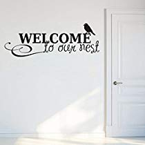 Get Decals Design 'Welcome to Our Nest' Wall Sticker (PVC Vinyl, 70 cm x 25 cm, Black) at Rs 109