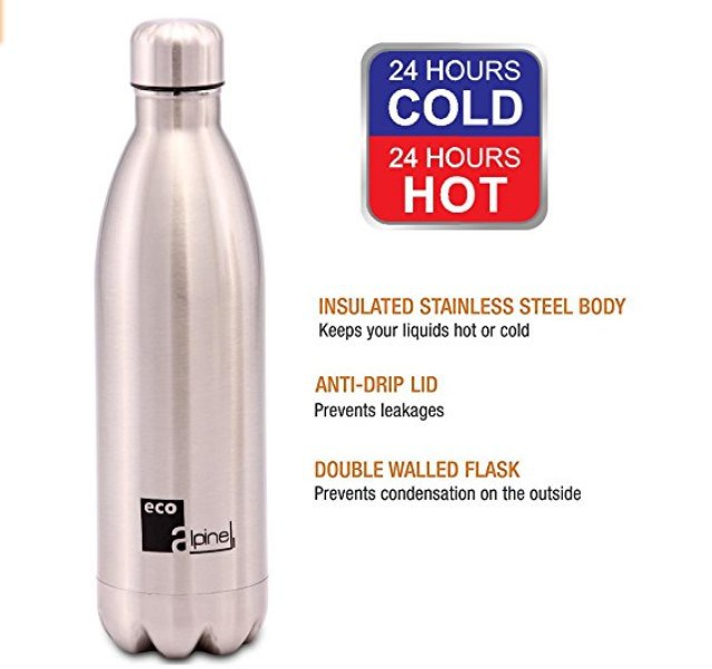 Get Eco Alpine Stainless Steel Hot and Cold Thermoflask Bottle 1000 ML at Rs 641 | Amazon Offer
