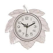 Get eCraftIndia Retro Leaf Shape Plastic and Glass Wall Clock (27.5 cm x 2.5 cm x 27.5 cm, Silver) a