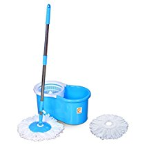 Get Esquire Spin Mop with 360┬░ Spin with Refill, Telescopic Rod + 1 Refill Free (Blue, White) a